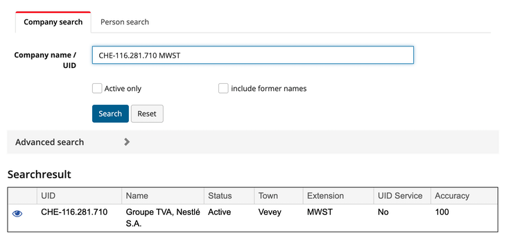 Swiss VAT number validation with the UID Register
