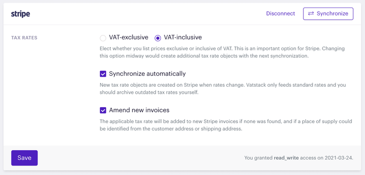 Settings for handling tax rates on Stripe