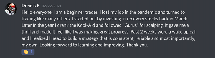 Introduction on Discord about being misled by day-trading 'gurus'