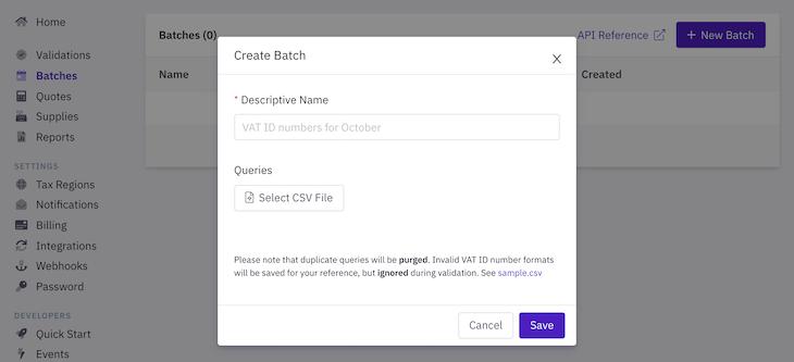 Create batch process for bulk VAT number validations