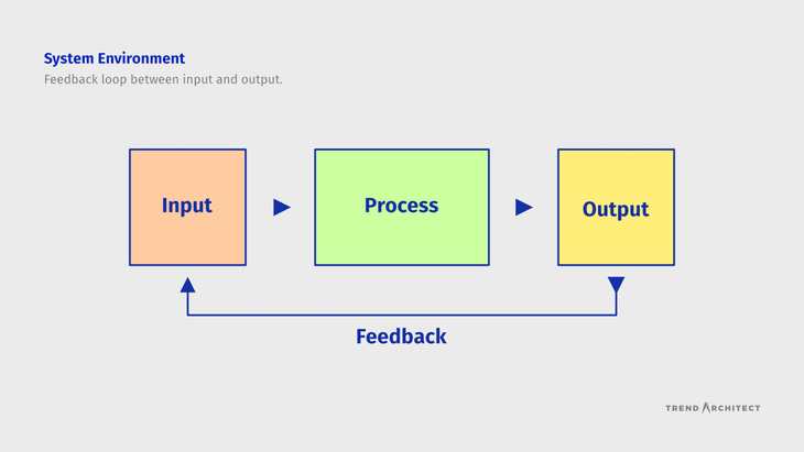 Feedback loop of input, process, and output influencing each other