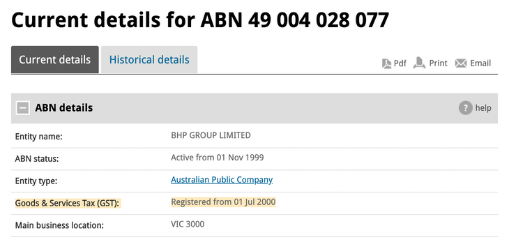 Official ABN details from the Australian Business Register